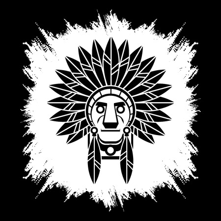 designed: Native American Indian chief , Head designed on grunge frame background graphic.