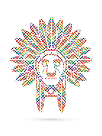 valiant: Native American Indian chief , Head designed using colorful pixels graphic . Illustration