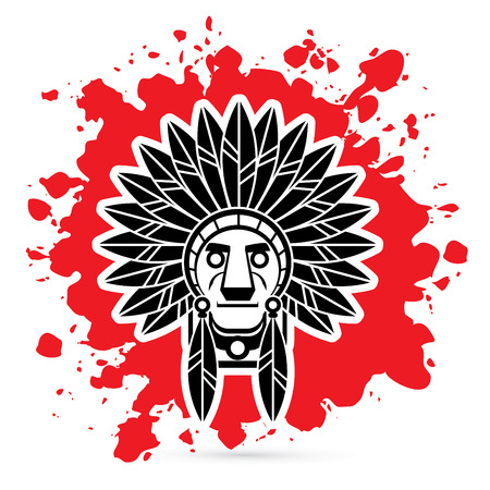Native American Indian chief , Head designed on splash blood graphic .