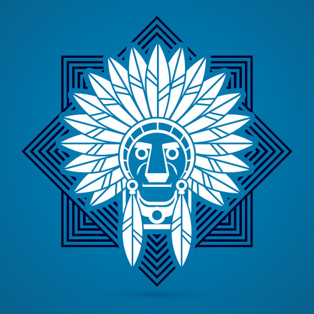 valiant: Native American Indian chief , Head designed on line square background graphic .