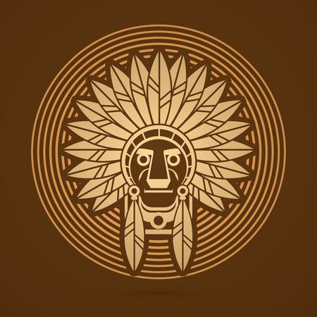 etnia: jefe indio nativo americano, Jefe diseñada en la línea de fondo de oro ciclo gráfico.