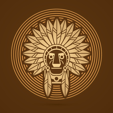 ethnicity: Native American Indian chief , Head designed on gold line cycle background graphic . Illustration