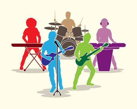 singer on stage: Music Bands graphic vector