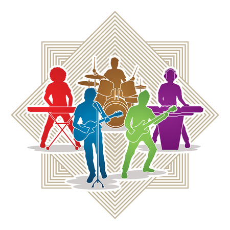 concert band: Music Bands designed on line square background graphic vector