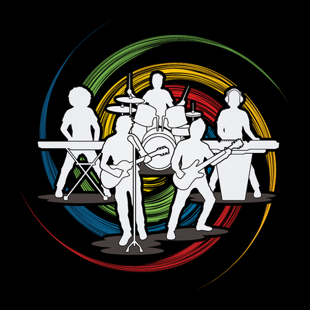 spin: Music Bands designed on spin wheel background graphic vector