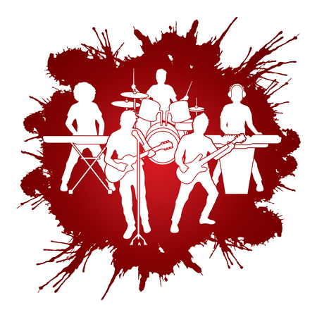 band instruments: Music Bands designed on splash blood background graphic vector