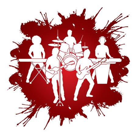 concert band: Music Bands designed on splash blood background graphic vector