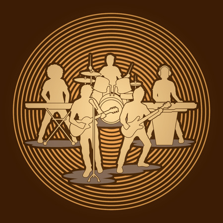 band: Music Bands designed on golden circle background graphic vector