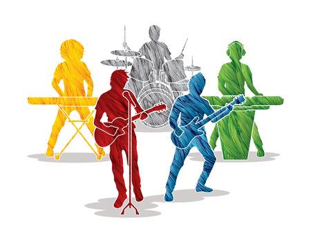 Bandas de música diseñados utilizando cepillo colorido del grunge de gráficos vectoriales