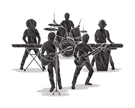 keyboard music: Music Bands designed using black grunge brush graphic vector