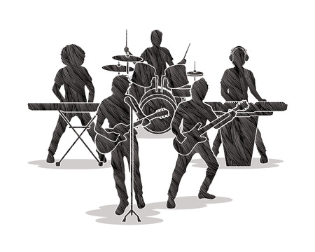 Music Bands designed using black grunge brush graphic vector