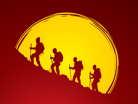 conqueror: A group of people walking on mountain designed on moonlight background graphic vector.