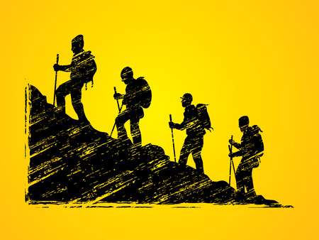 A group of people walking on mountain designed using grunge brush graphic vector.