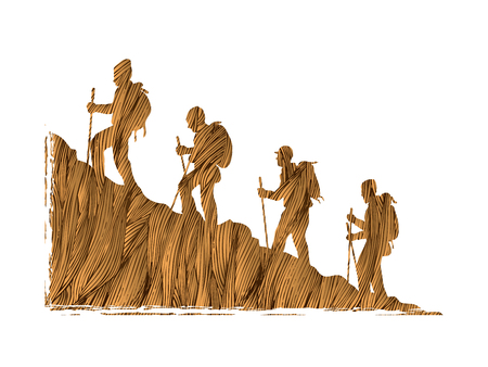 rocky mountain: A group of people walking on mountain designed using gold and brown grunge brush graphic vector. Illustration