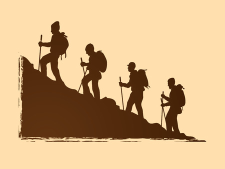 Hiking mountain graphic vector