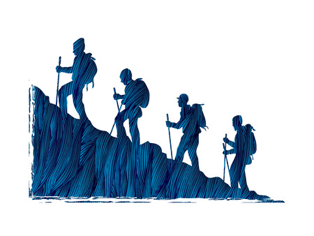 A group of people walking on mountain designed using blue grunge brush graphic vector.