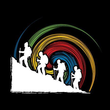 spin: A group of people walking on mountain designed on spin background graphic vector.