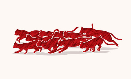 crowd tail: Cats nine lives designed using red grunge brush graphic vector. Illustration