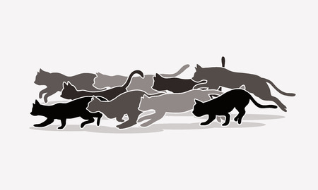 gray scale: Cats nine lives designed using gray scale colors graphic vector. Illustration