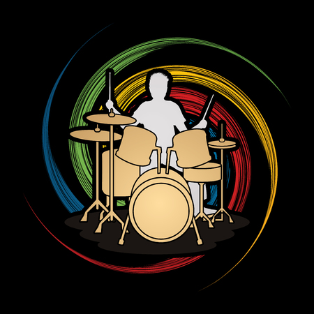 spin: Drum player designed on spin wheel background graphic vector. Illustration
