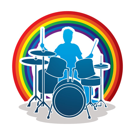 music band: Drum player designed on line rainbows background graphic vector.