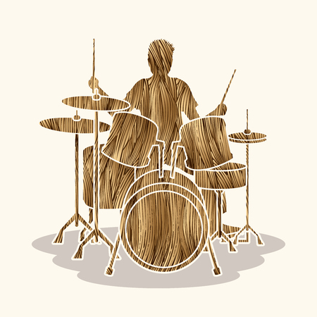 Drum player designed using gold grunge brush graphic vector. Illustration