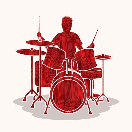 red drum: Drum player designed using red grunge brush graphic vector.