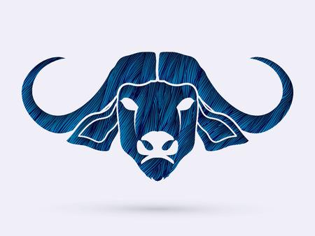 raging bull: Buffalo head designed using blue grunge brush graphic vector.