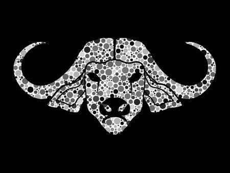 raging bull: Buffalo head designed using black and white halftone graphic vector. Illustration
