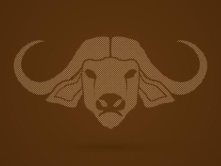 raging bull: Buffalo head designed using dots pattern graphic vector.