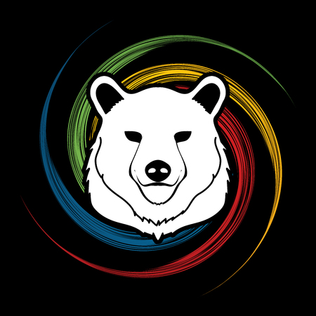 spin: Bear Head designed on spin wheel background graphic vector.