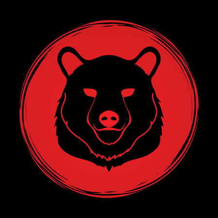 sanctuaries: Bear Head designed on grunge circle background graphic vector.