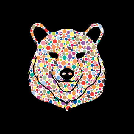 halftone pattern: Bear Head designed using colorful halftone pattern graphic vector. Illustration