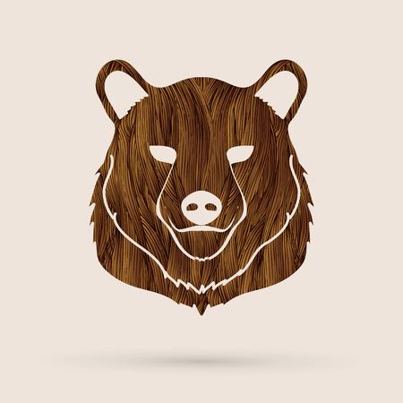 Bear Head designed using rbrown grunge brush graphic vector. Illustration