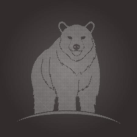 sanctuaries: Bear Standing designed using dots pattern graphic vector.