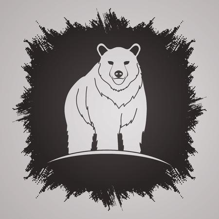 grunge frame: Bear Standing designed on grunge frame background graphic vector.