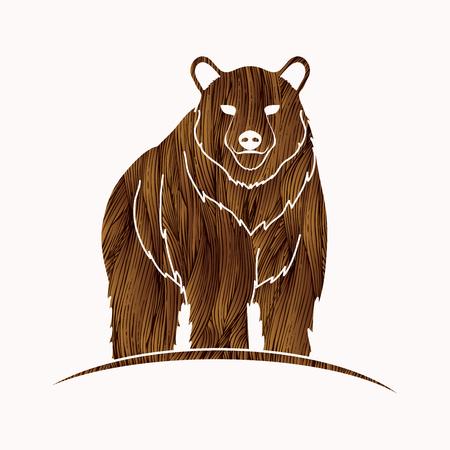 Bear Standing designed using brown grunge brush graphic vector.