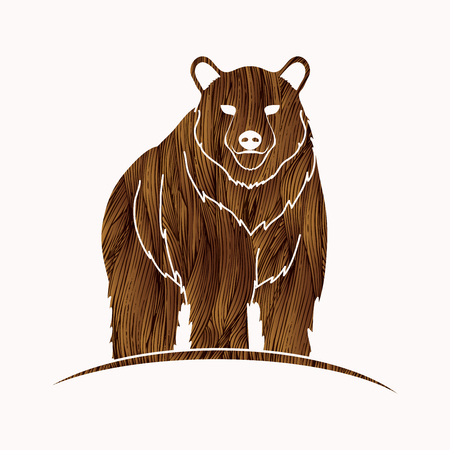 Bear Standing designed using brown grunge brush graphic vector.