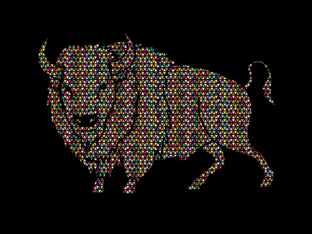 corrida: Buffalo standing designed using colorful geometric pattern graphic vector.