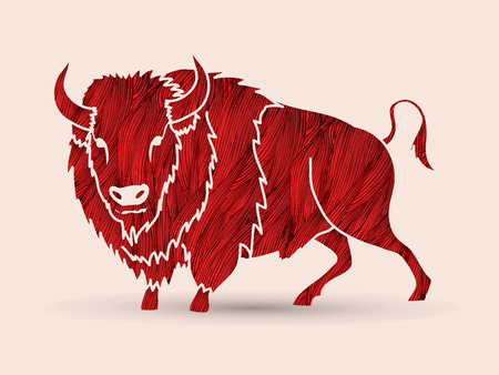 persistence: Buffalo standing designed using grunge brush graphic vector.