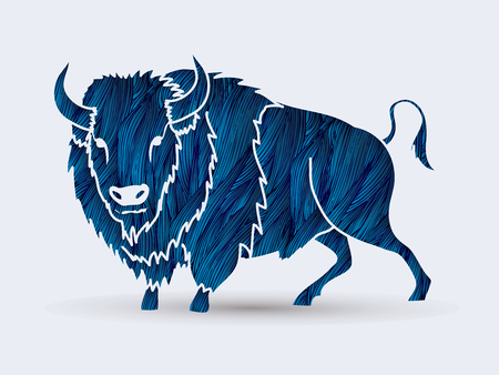 persistence: Buffalo standing designed using blue grunge brush graphic vector. Illustration