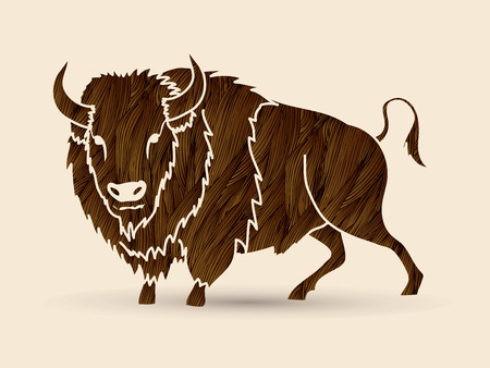 persistence: Buffalo standing designed using brown grunge brush graphic vector. Illustration