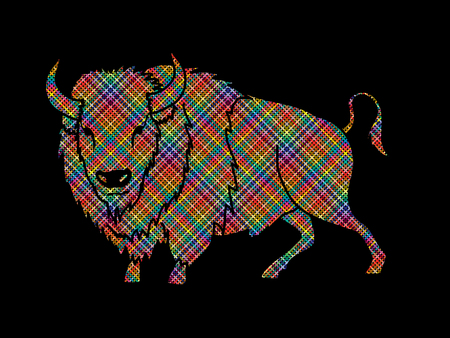 persistence: Buffalo standing designed using colorful pixels graphic vector. Illustration