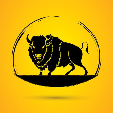 corrida: Buffalo standing designed using grunge brush graphic vector.