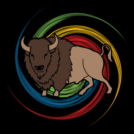 spin: Buffalo standing designed on spin wheel background graphic vector. Illustration