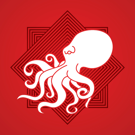 Octopus designed on line square background graphic vector.