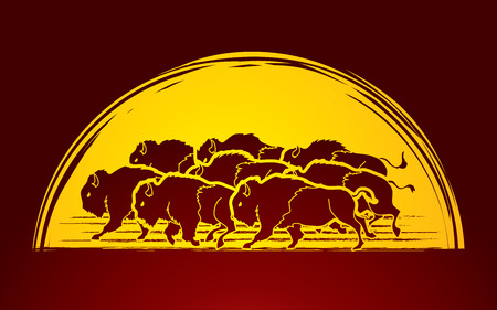 Group of buffalo running designed on moonlight background graphic vector