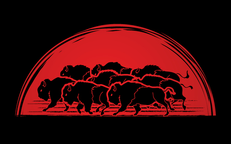 Group of buffalo running designed on sunrise background graphic vector