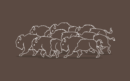 crowd tail: Group of buffalo running designed using outline graphic vector