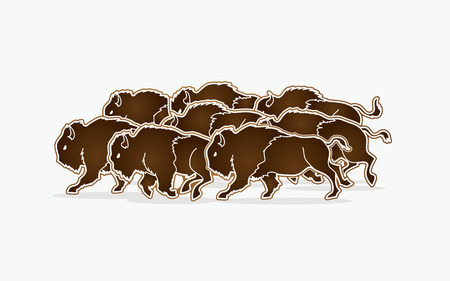 Group of buffalo running graphic vector Illustration